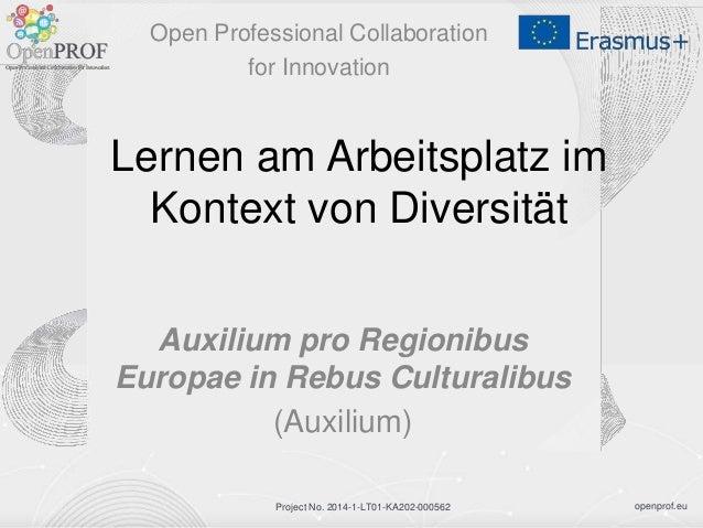openprof.euProject No. 2014-1-LT01-KA202-000562 Lernen am Arbeitsplatz im Kontext von Diversität Auxilium pro Regionibus E...