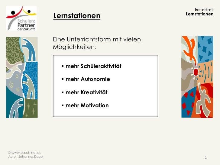 Lerneinheit:                       Lernstationen                     Lernstationen                       Eine Unterrichtsf...