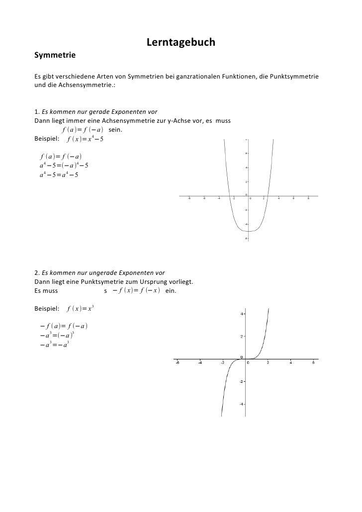 Lerntagebuch Symmetrie  Es gibt verschiedene Arten von Symmetrien bei ganzrationalen Funktionen, die Punktsymmetrie und di...