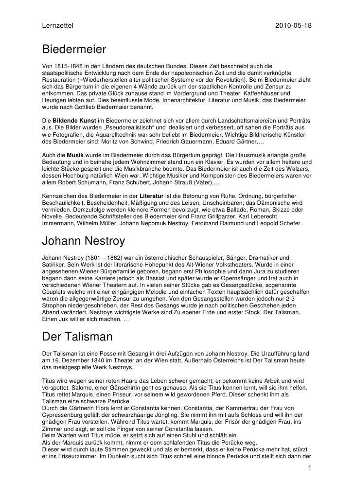 Lernzettel                                                                               2010-05-18   Biedermeier Von 1815...