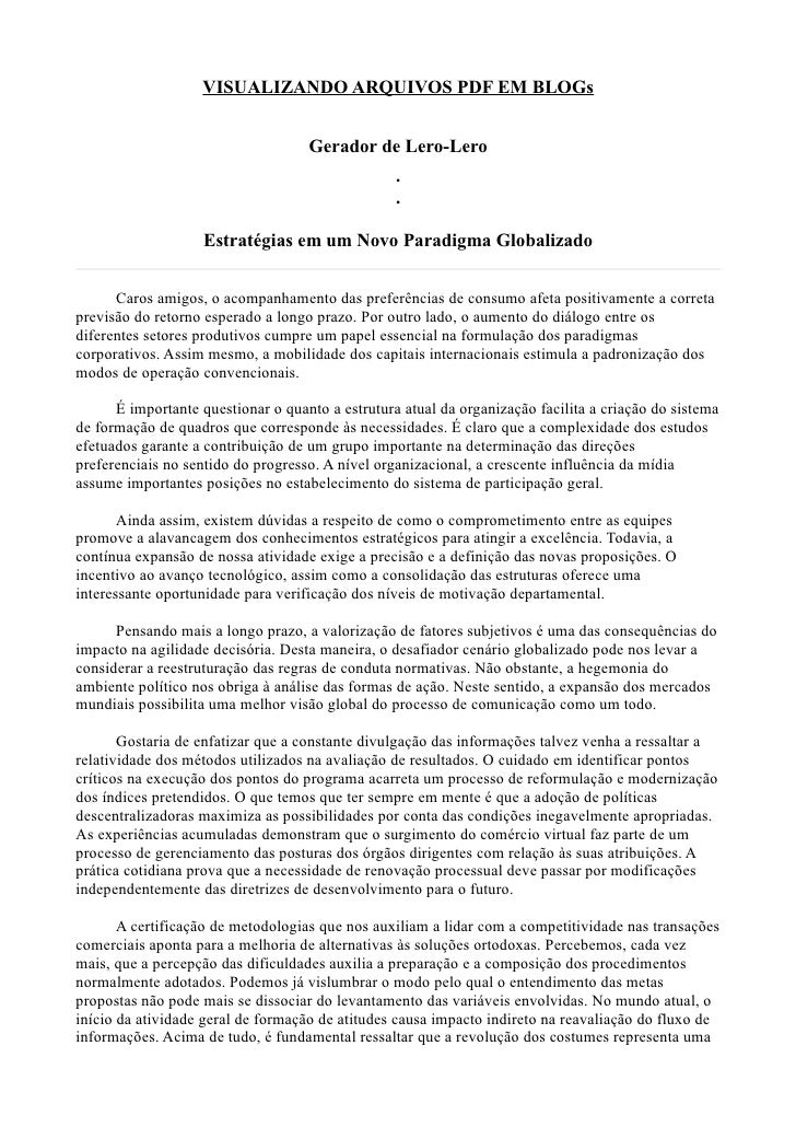 VISUALIZANDO ARQUIVOS PDF EM BLOGs                                    Gerador de Lero-Lero                                ...