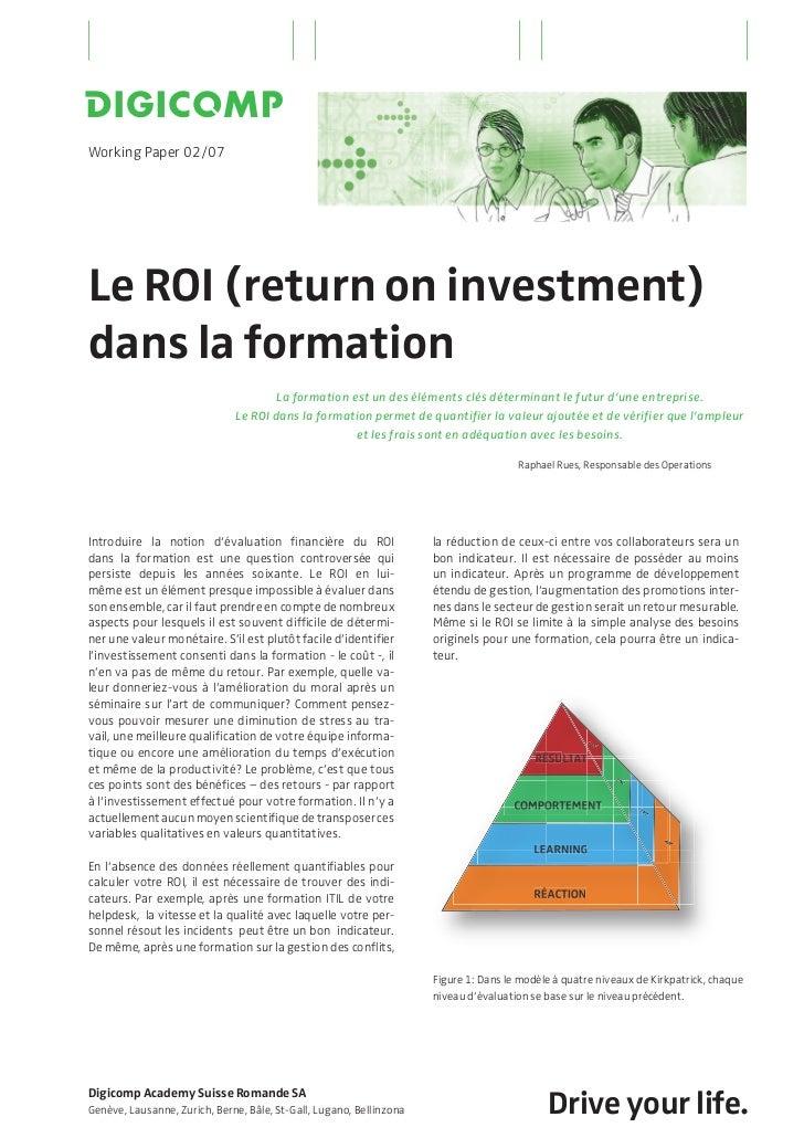 Le ROI (return on investment) dans la formation