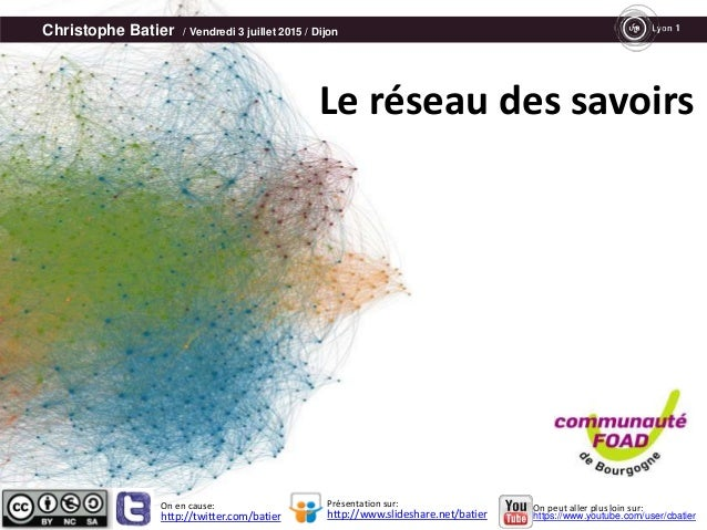 Christophe Batier / Vendredi 3 juillet 2015 / Dijon Le réseau des savoirs http://twitter.com/batier http://www.slideshare....