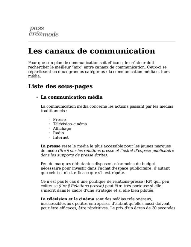"""Les canaux de communication  Pour que son plan de communication soit efficace, le créateur doit  rechercher le meilleur """"m..."""