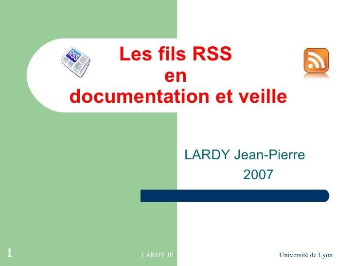 Les fils RSS en documentation et veille
