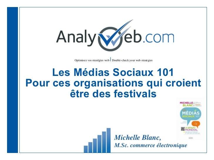Les Médias Sociaux 101 Pour ces organisations qui croient être des festivals Michelle Blanc,  M.Sc. commerce électronique