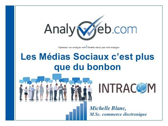 Optimisez vos stratégies web  Double-check your web strategiesLes Médias Sociaux c'est plusque du bonbonMichelle Blanc,M.S...
