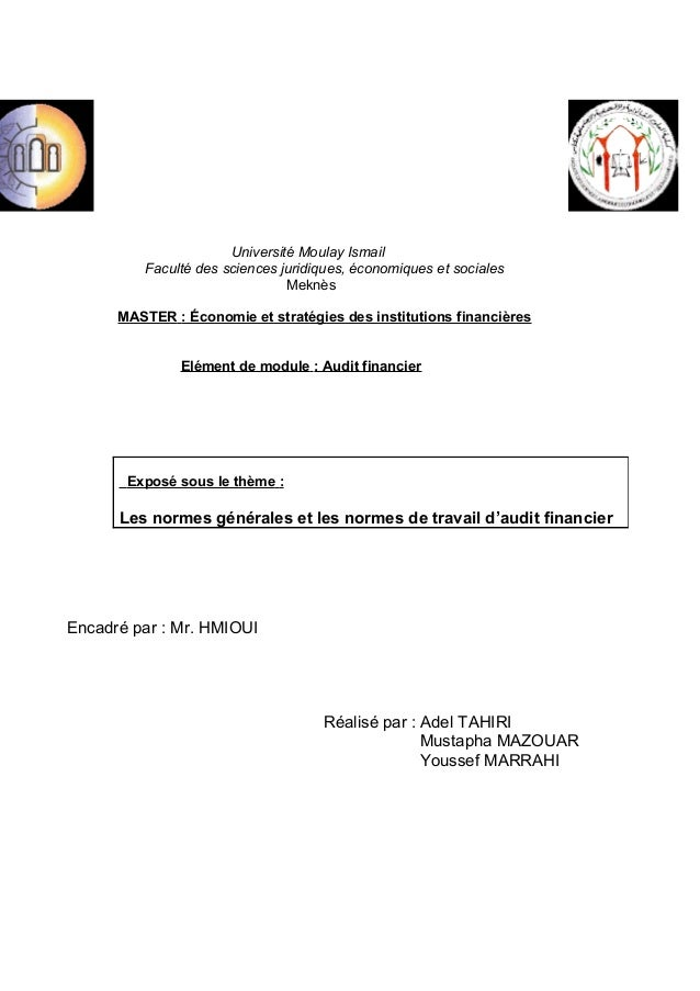 Université Moulay Ismail Faculté des sciences juridiques, économiques et sociales Meknès MASTER : Économie et stratégies d...