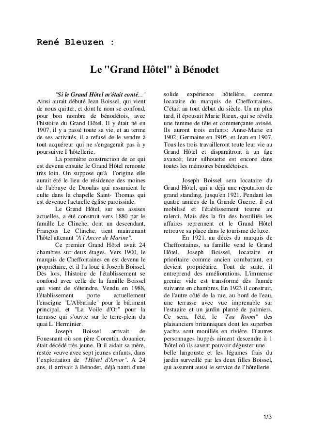 """René Bleuzen :  Le """"Grand Hôtel"""" à Bénodet """"Si le Grand Hôtel m'était conté..."""" Ainsi aurait débuté Jean Boissel, qui vien..."""