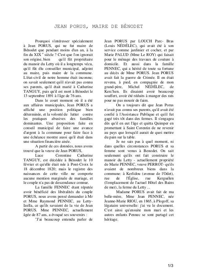 JEAN PORUS, MAIRE DE BÉNODET Pourquoi s'intéresser spécialement à Jean PORUS, qui ne fut maire de Bénodet que pendant moin...
