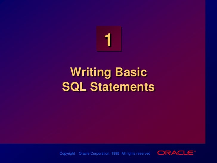 Les01 Writing Basic Sql Statements