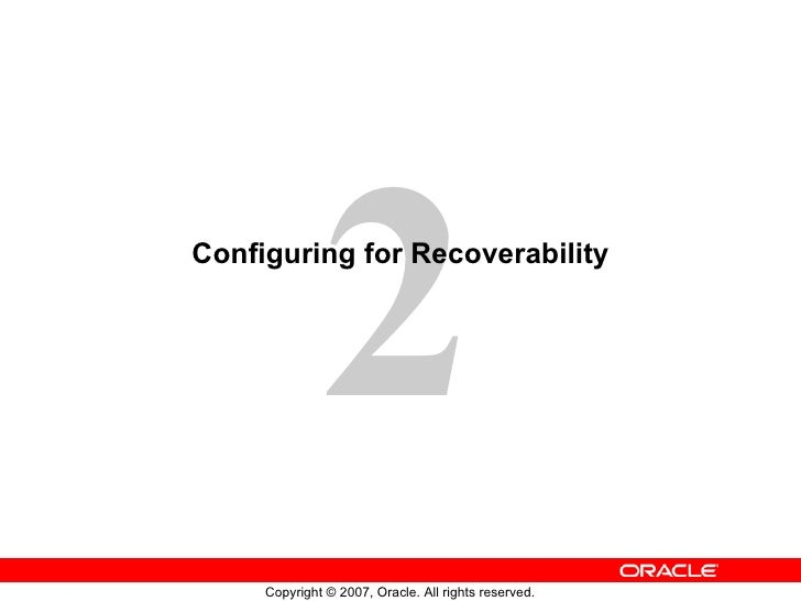Configuring for Recoverability