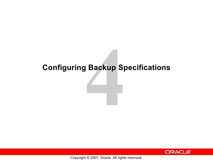 Configuring Backup Specifications