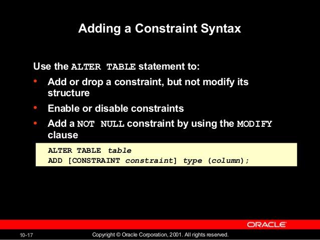 alter table drop unique constraint oracle 2