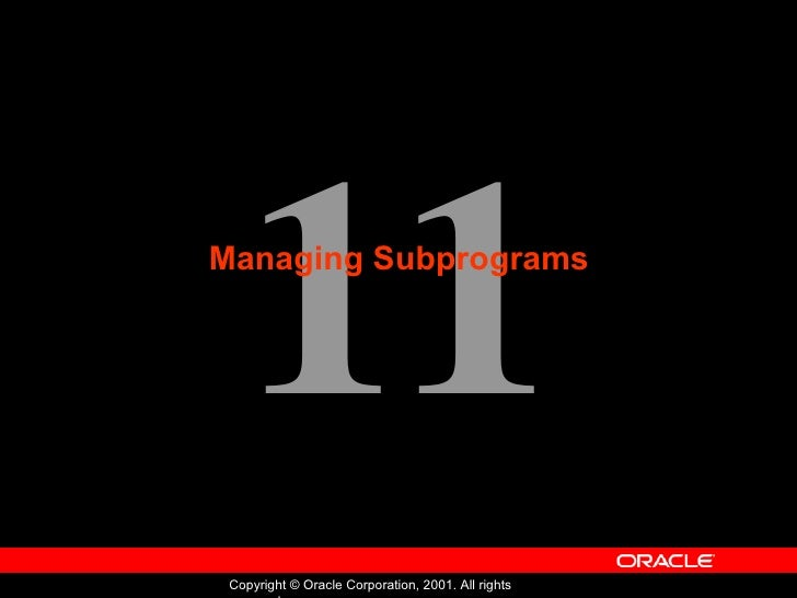 Oracle - Program with PL/SQL - Lession 11