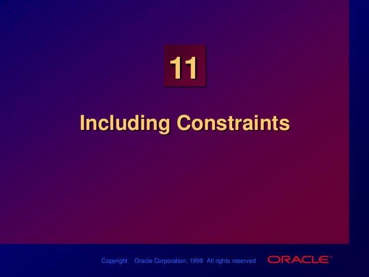 Les11 Including Constraints