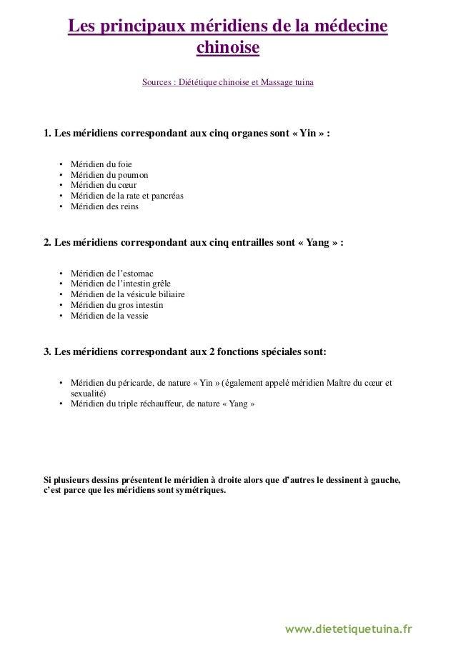 www.dietetiquetuina.fr  Les principaux méridiens de la médecine chinoise  Sources : Diététique chinoise et Massage tuina  ...