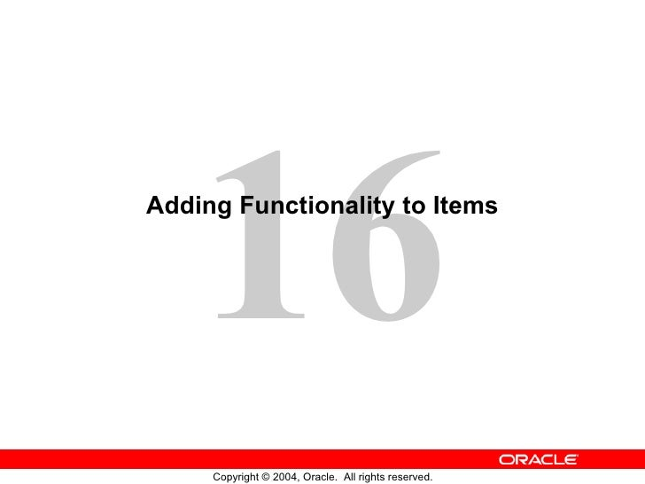 Adding Functionality to Items