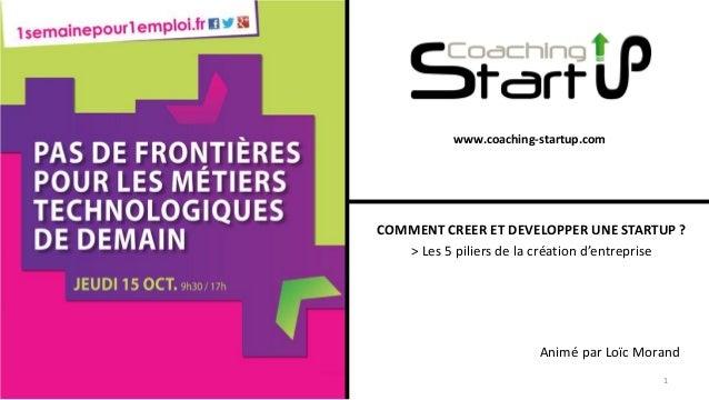 www.coaching-startup.com COMMENT CREER ET DEVELOPPER UNE STARTUP ? > Les 5 piliers de la création d'entreprise Animé par L...