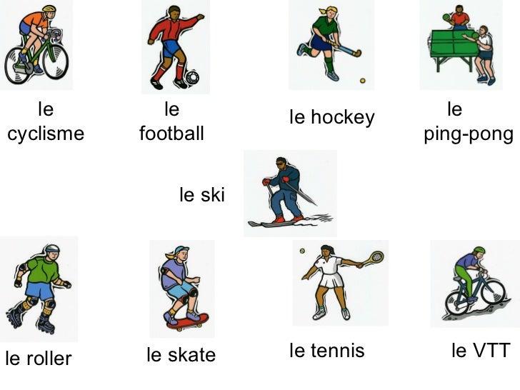 le cyclisme le football le hockey le  ping-pong le ski le roller le skate le tennis le VTT