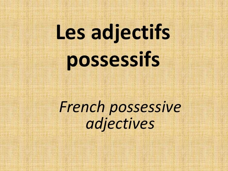 Les adjectifs possessifs<br />French possessive adjectives<br />