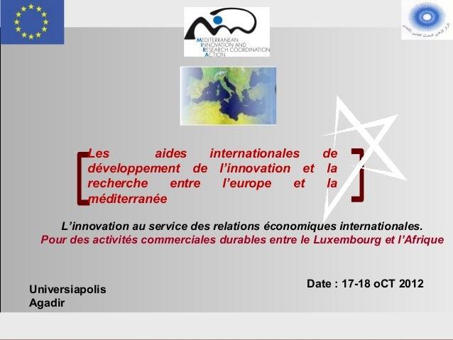 Les       aides    internationales  de                     développement de l'innovation et la                     recherc...