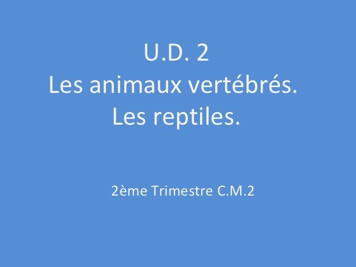 U.D. 2 Les animaux vertébrés.  Les reptiles. 2ème Trimestre C.M.2