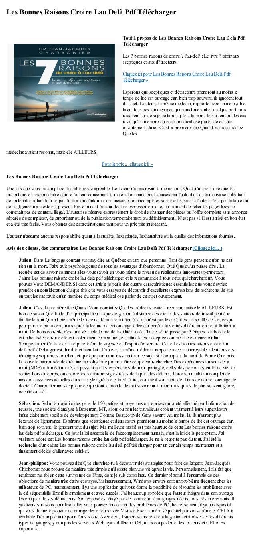 Les Bonnes Raisons Croire Lau Delà Pdf Téléchargermédecins avaient reconnu, mais elle AILLEURS.Pour le prix ... cliquez ic...