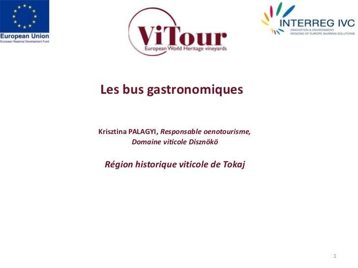1<br />Les bus gastronomiques <br />Krisztina PALAGYI, Responsable oenotourisme, <br />Domaine viticole Disznökö<br />Régi...