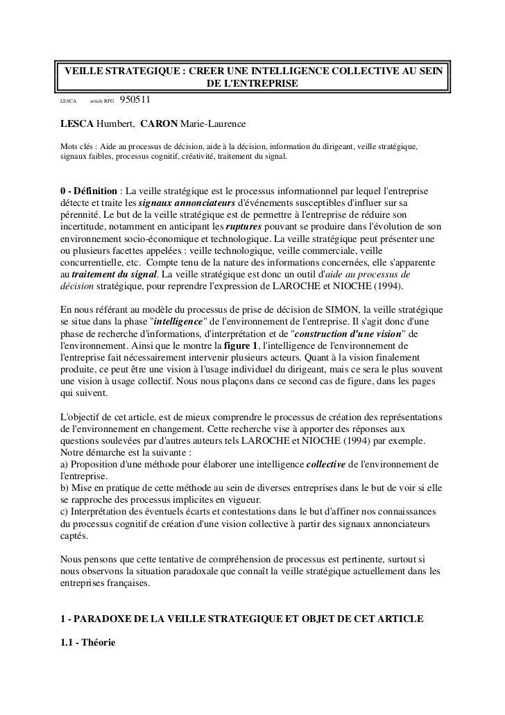VEILLE STRATEGIQUE : CREER UNE INTELLIGENCE COLLECTIVE AU SEIN                         DE LENTREPRISELESCA    article RFG ...