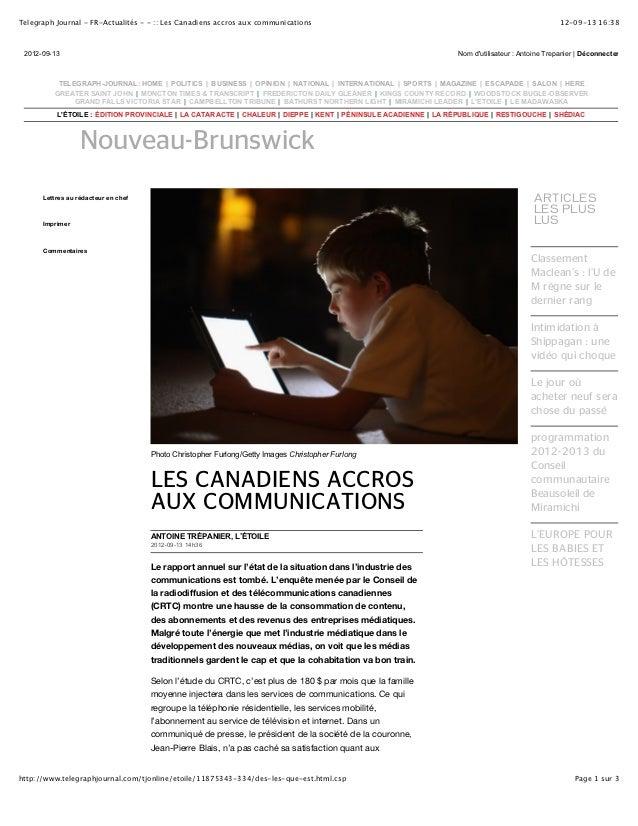 Telegraph Journal - FR-Actualités - - :: Les Canadiens accros aux communications                                          ...