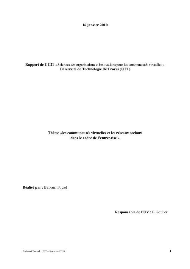 16 janvier 2010  Rapport de CC21 « Sciences des organisations et innovations pour les communautés virtuelles »            ...