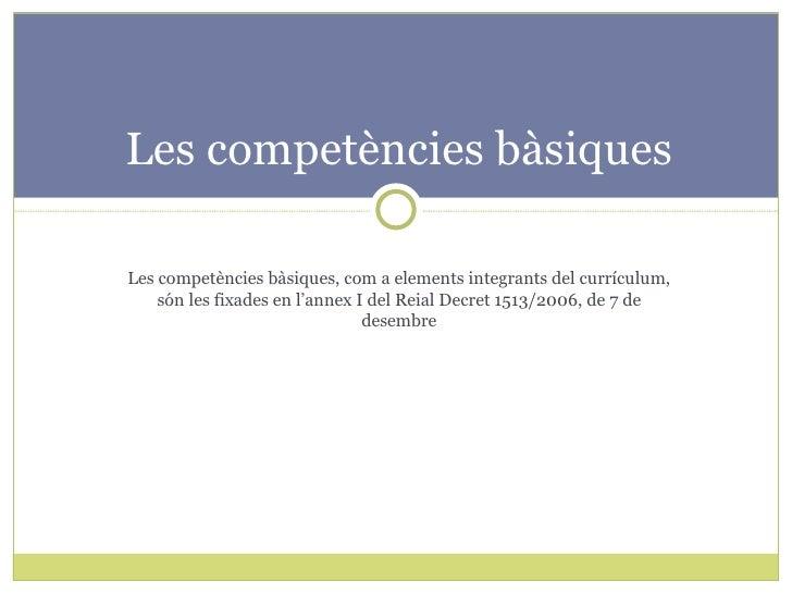 Les competències bàsiques