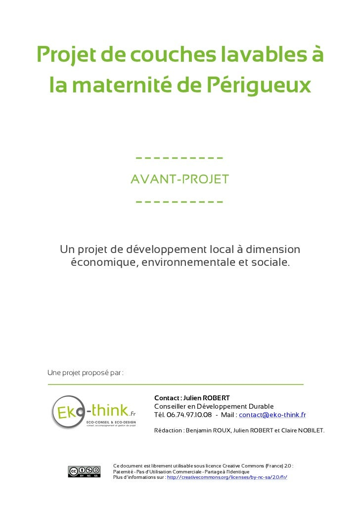 Projet de couches lavables à la maternité de Périgueux                              ----------                            ...