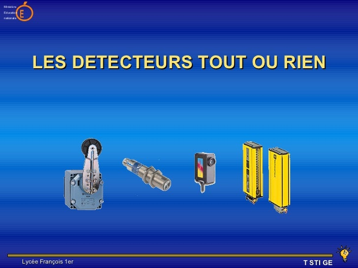 MinistèreEducationnationale   E                LES DETECTEURS TOUT OU RIEN            Lycée François 1er          T STI GE