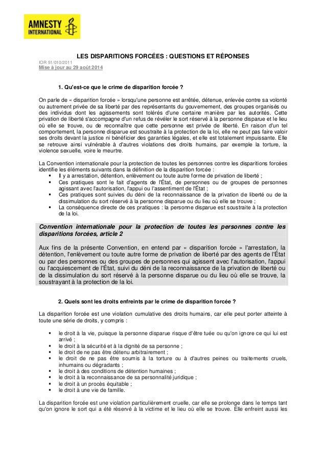 LES DISPARITIONS FORCÉES : QUESTIONS ET RÉPONSES  IOR 51/010/2011  Mise à jour au 29 août 2014  1. Qu'est-ce que le crime ...