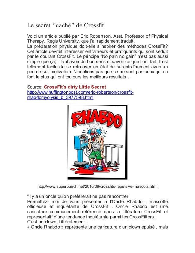 """Le secret """"caché"""" de Crossfit Voici un article publié par Eric Robertson, Asst. Professor of Physical Therapy, Regis Unive..."""