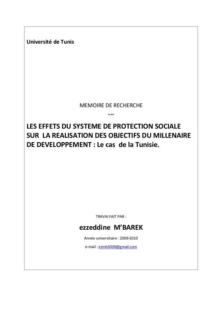 Université de Tunis                      MEMOIRE DE RECHERCHE                                    ***LES EFFETS DU SYSTEME ...