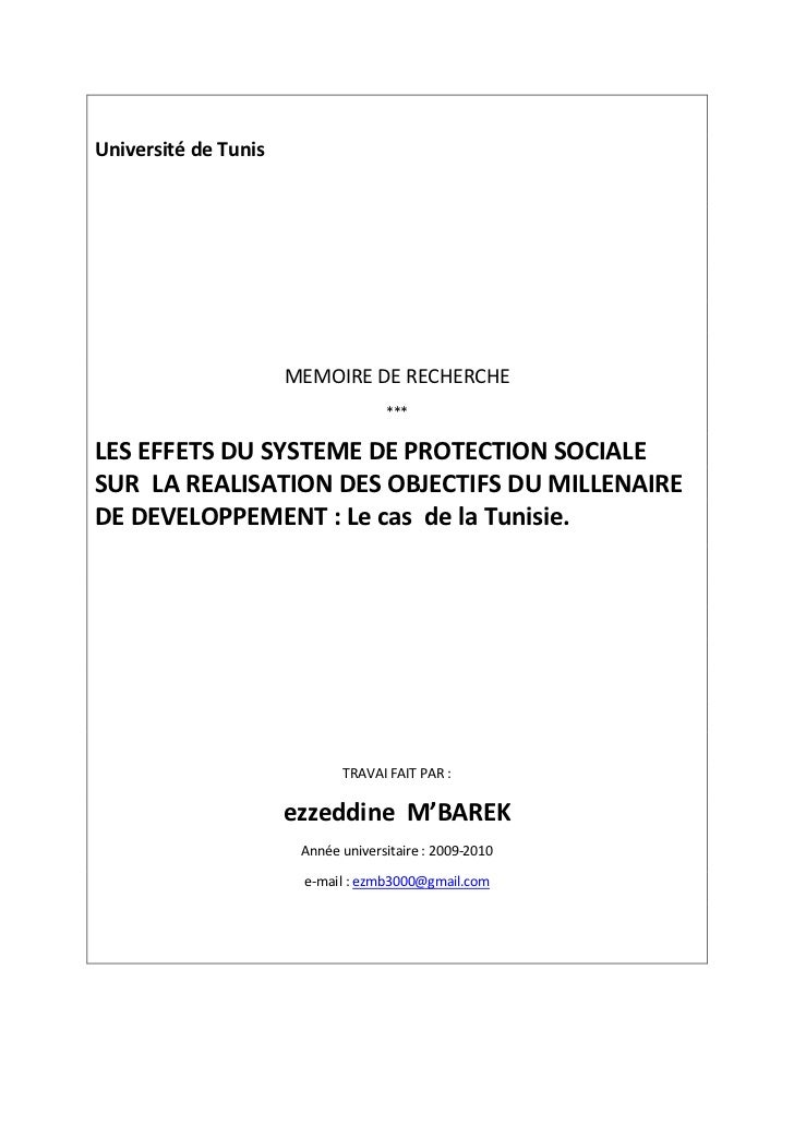 Les effets de la protection sociale sur la realisation des…