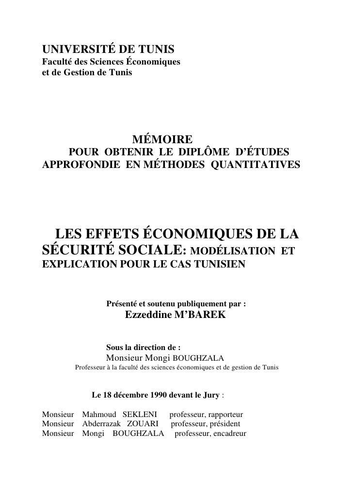 UNIVERSITÉ DE TUNIS Faculté des Sciences Économiques et de Gestion de Tunis                               MÉMOIRE     POUR...