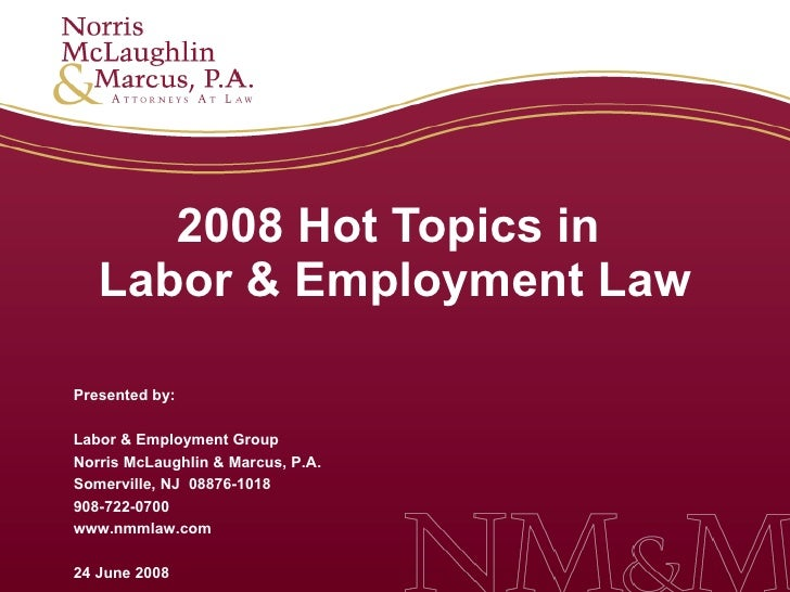 2008 Hot Topics in  Labor & Employment Law Presented by: Labor & Employment Group Norris McLaughlin & Marcus, P.A. Somervi...