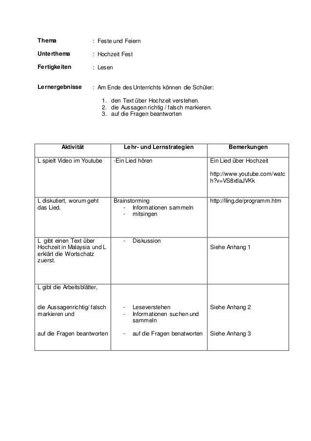 Thema : Feste und Feiern Unterthema : Hochzeit Fest Fertigkeiten : Lesen Lernergebnisse : Am Ende des Unterrichts können d...
