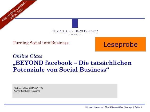 "Turning Social into Business                                                LeseprobeOnline Class""BEYOND facebook – Die ta..."