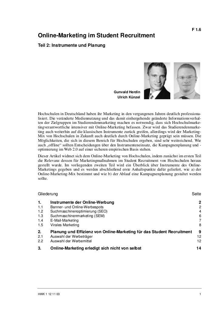 F 1.6Online-Marketing im Student RecruitmentTeil 2: Instrumente und Planung                                             Gu...