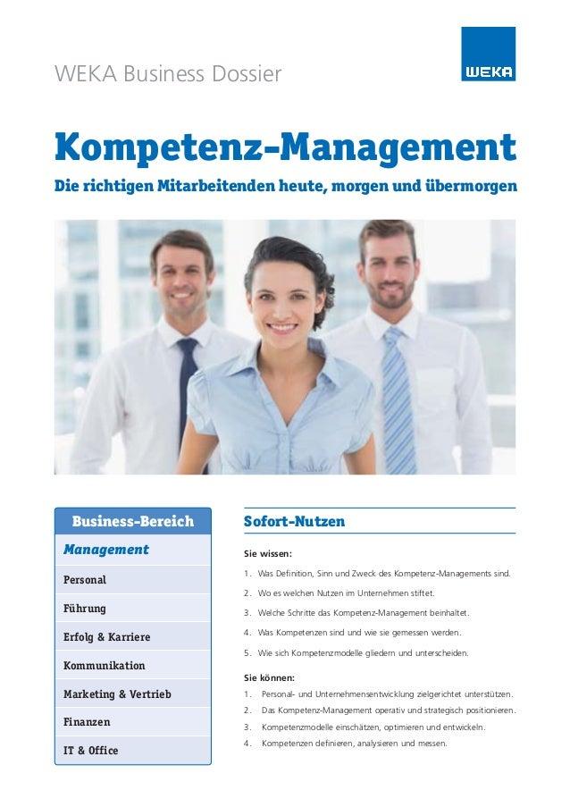 WEKA Business Dossier Kompetenz-Management Die richtigen Mitarbeitenden heute, morgen und übermorgen Sofort-Nutzen Sie wis...