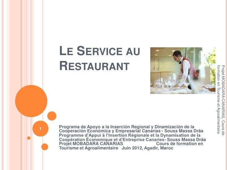 LE SERVICE AU    RESTAURANT                                                                          formation en Tourisme...