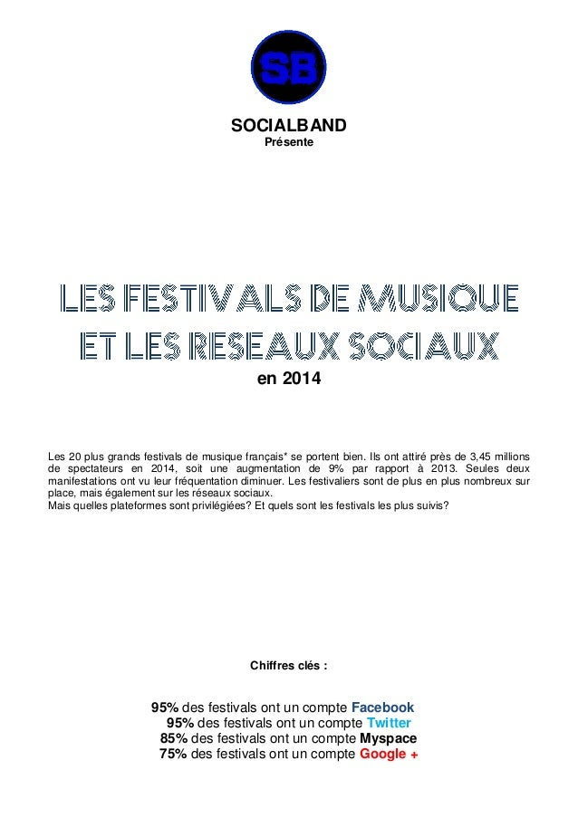 SOCIALBAND Présente en 2014 Les 20 plus grands festivals de musique français* se portent bien. Ils ont attiré près de 3,45...