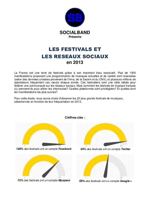 SOCIALBAND Présente LES FESTIVALS ET LES RESEAUX SOCIAUX en 2013 La France est une terre de festivals grâce à son importan...