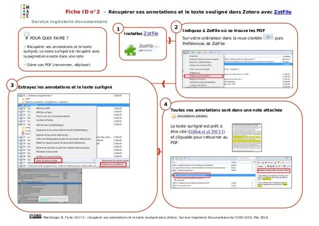 Fiche ID n°2 – Récupérer ses annotations et le texte souligné dans Zotero avec ZotFile Service ingénierie documentaire Mac...