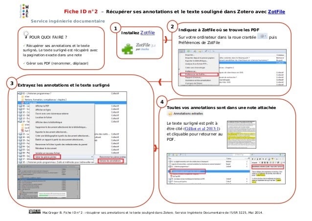 Fiche ID n°2 : Récupérer ses annotations et le texte souligné dans Zotero avec ZoteFile